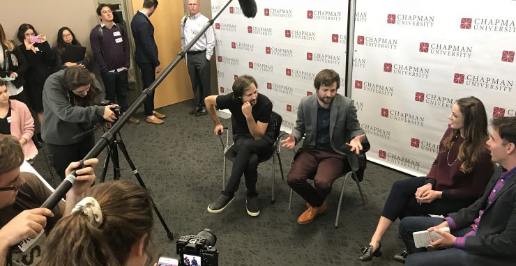 The Duffer Brothers presenting their master class.