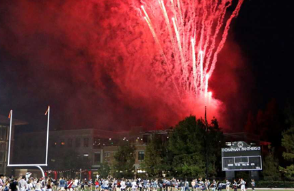 fireworks display on a football field at Chapman University