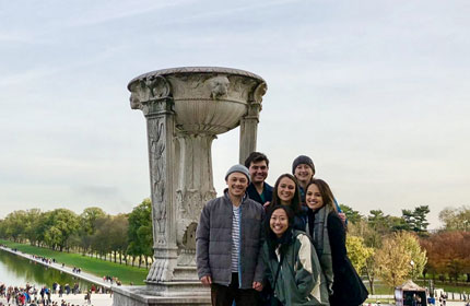 group of Chapman students standing in front of a Washing D.C. monument