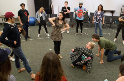 Students in improv class