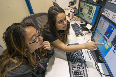 science students at computer