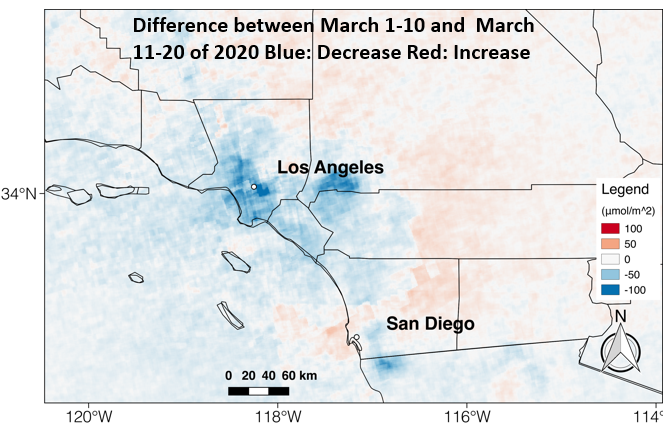 A satellite image interpreted by a Chapman earth systems lab shows a steep drop in nitrogen oxide emissions in and around Los Angeles, indicating that residents are observing stay-at-home orders.