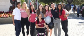 A group of Chapman University students welcoming you to campus