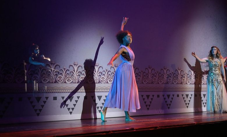 Dance students performing onstage