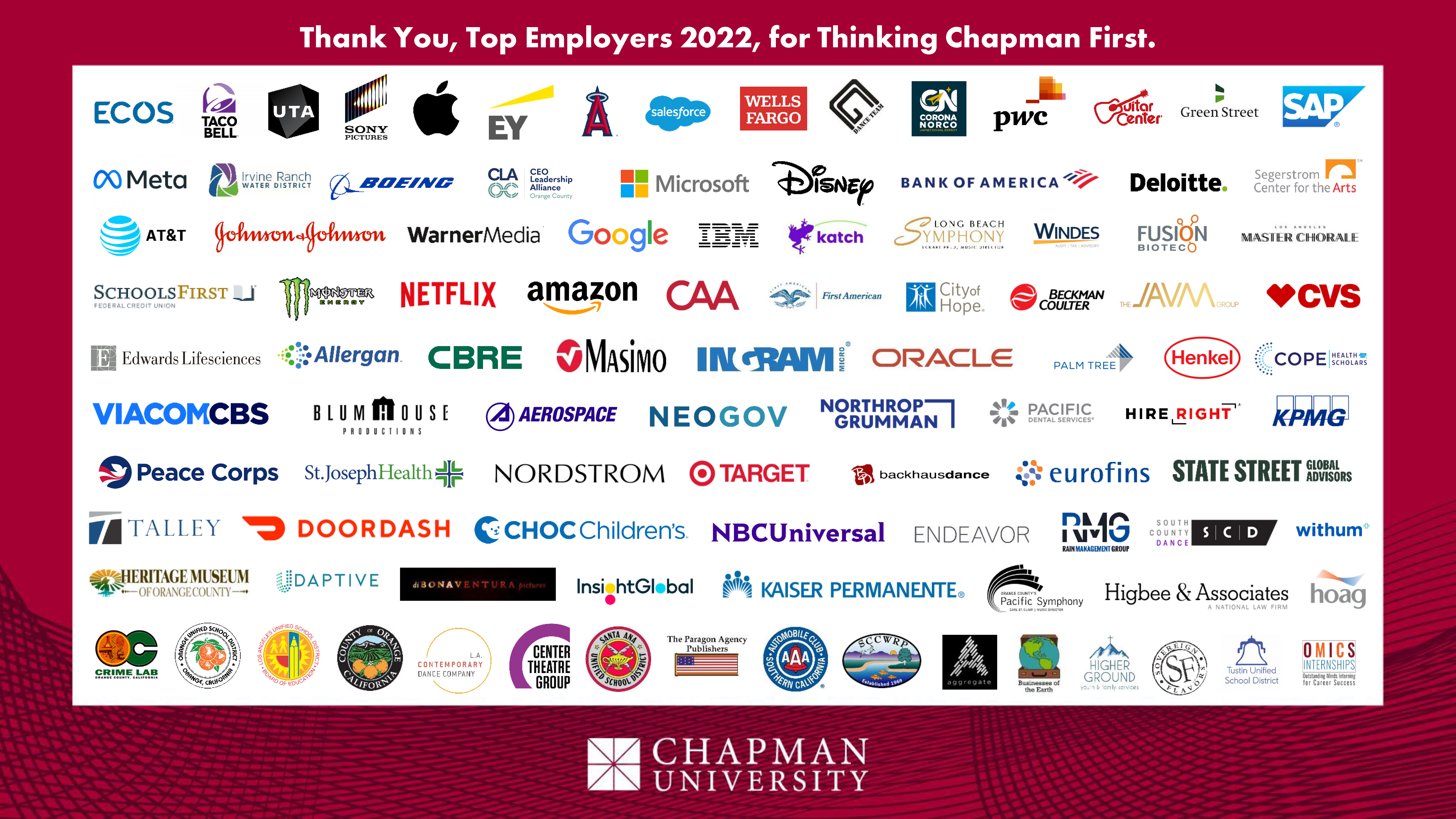 'thank you top employers for thinking chapman first'