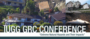 IUGG GRC Conference logo with homes being damaged by natural disasters