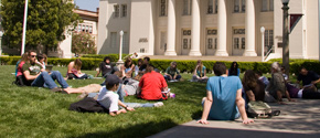 students sitting in memorial lawn