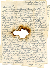 WWII letter with a bullethole