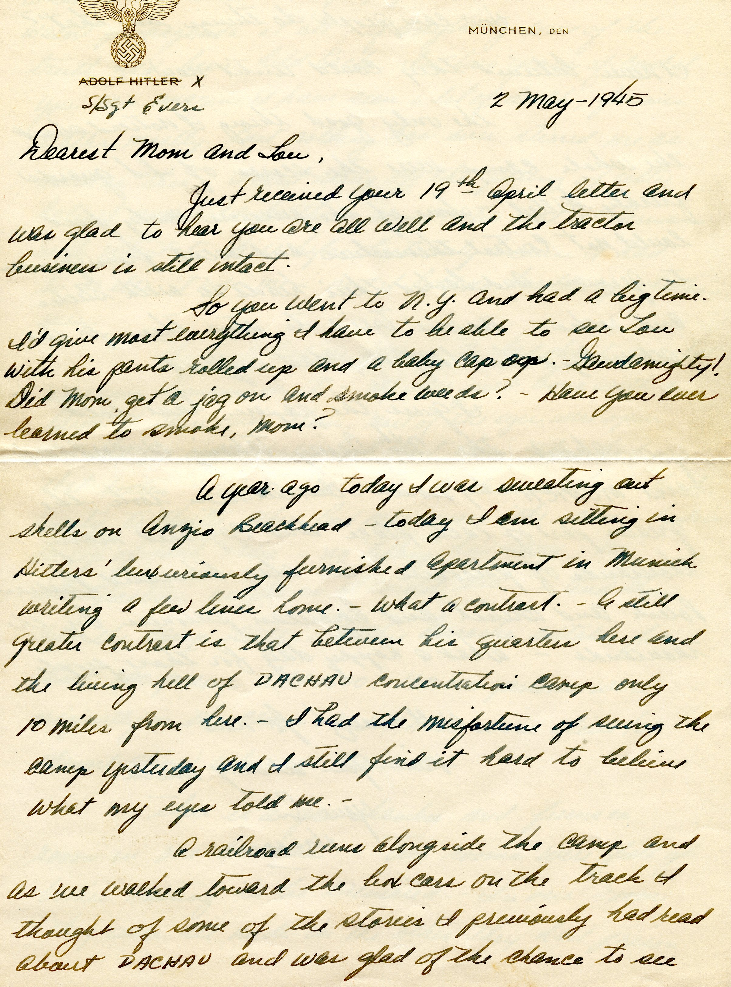 Letter from a U.S. soldier on Hitler's stationary