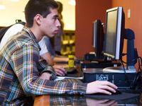 Chapman Student on the computer