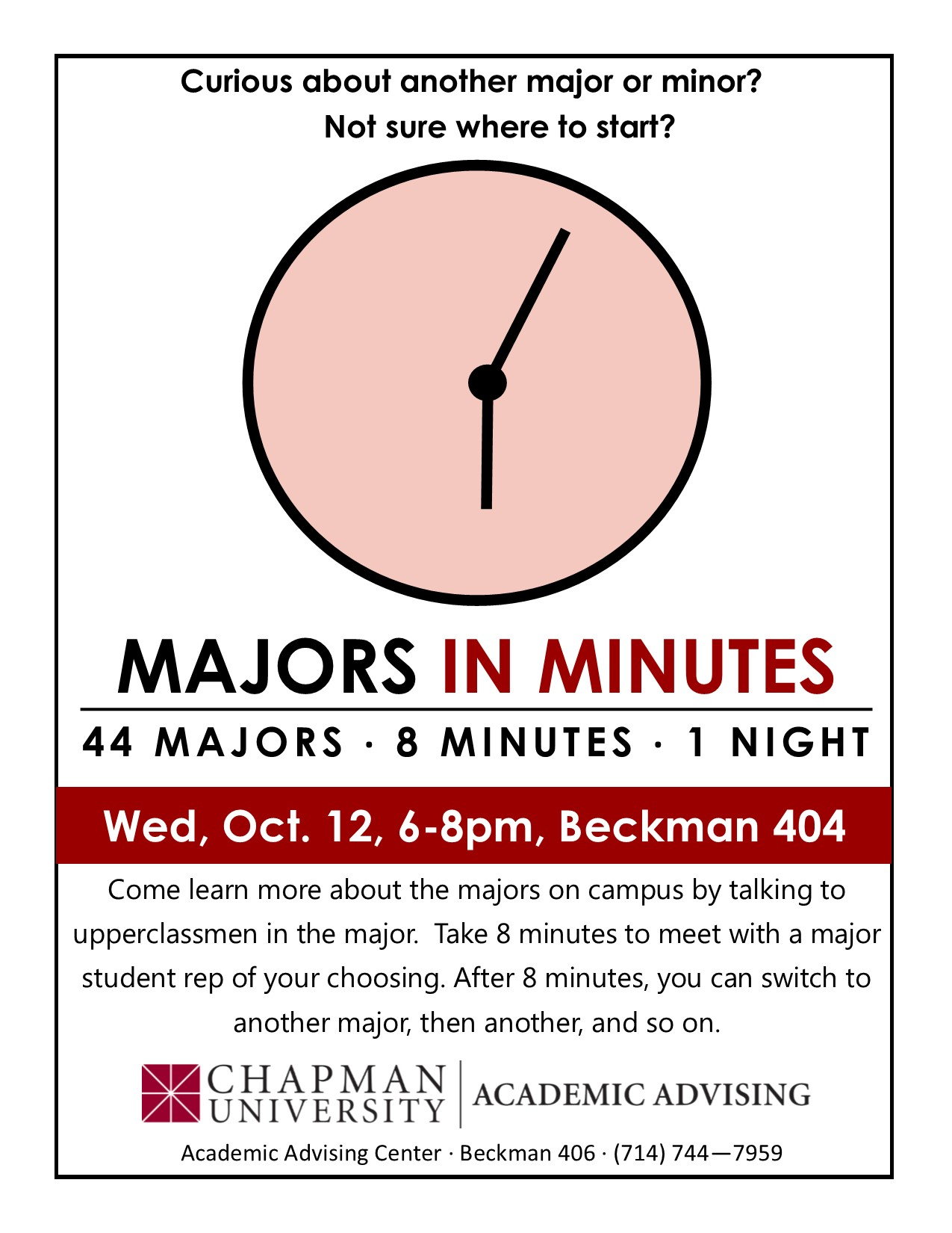 majors in minutes event academic advising university majors in minutes flyer