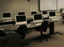 Computer lab at chapman showing rows of computers, desks, and chairs